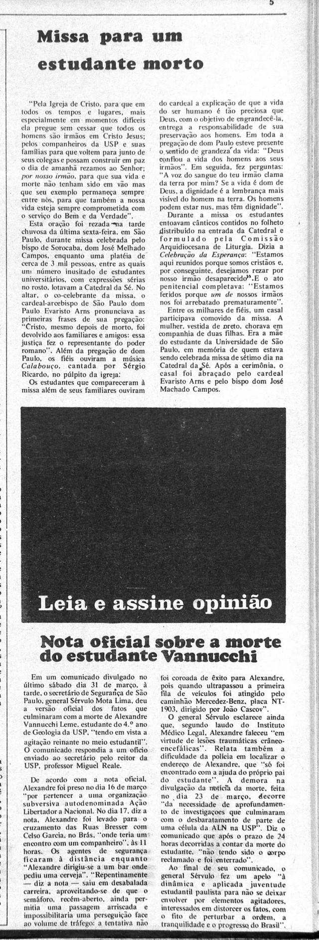 """A tarja preta sinaliza matéria censurada sobre a morte de Alexandre Vannucchi, no jornal """"Opinião"""" nº 22, de 2 de abril de 1973"""