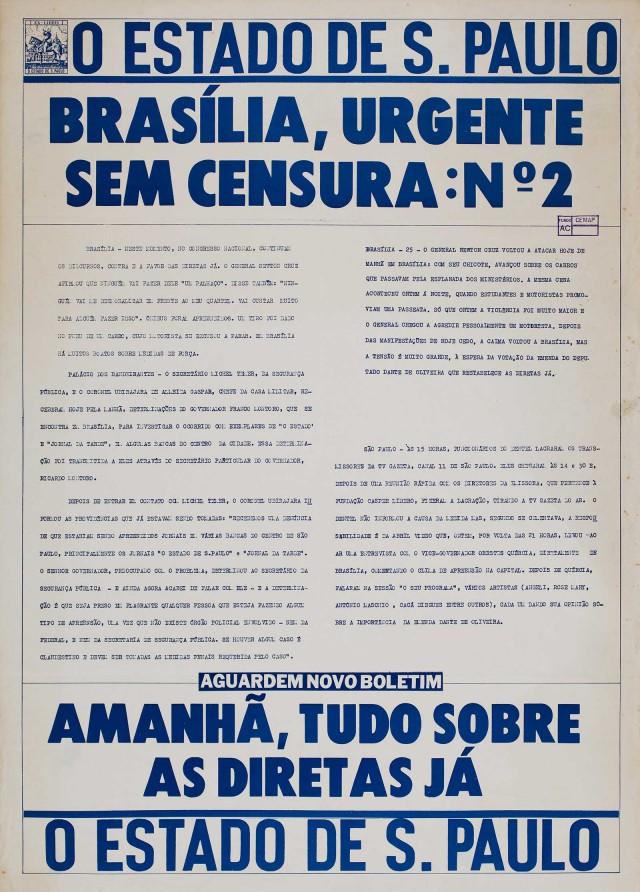 """Boletim produzido por """"O Estado de S. Paulo"""" em Brasília para furar o cerco da censura imposta pelas medidas de segurança"""