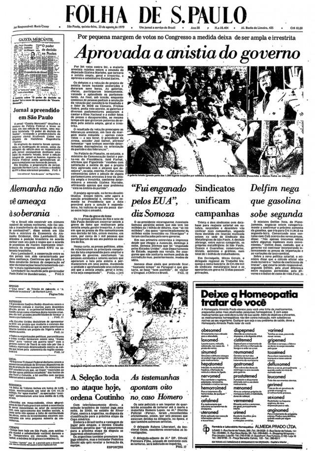 """O jornal """"Folha de S.Paulo"""" destaca a aprovação do projeto do governo da Lei da Anistia"""