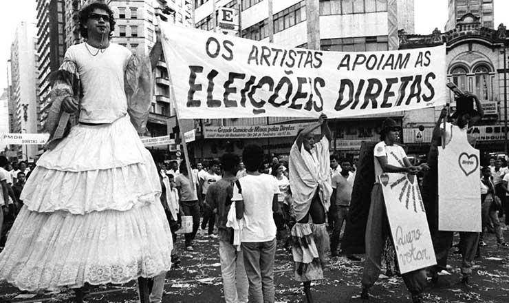 <strong> Artistas participam</strong> da manifesta&ccedil;&atilde;o pelas Diretas-J&aacute; em Belo Horizonte&nbsp;