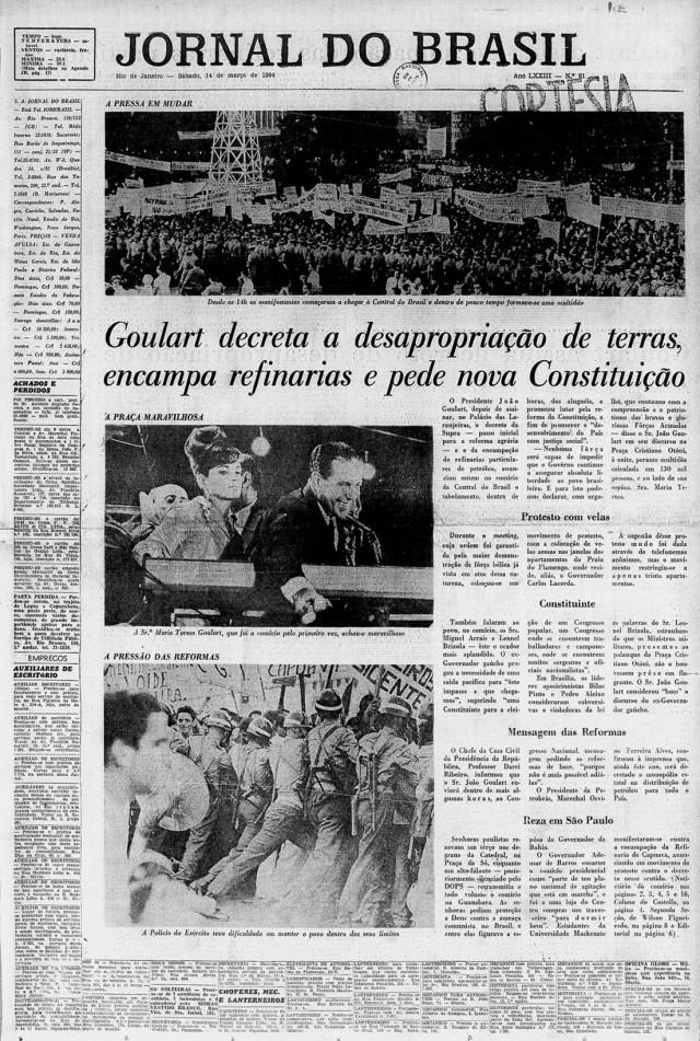 """Comício da Central é capa da edição de 14 de março de 1964 do """"Jornal do Brasil"""""""