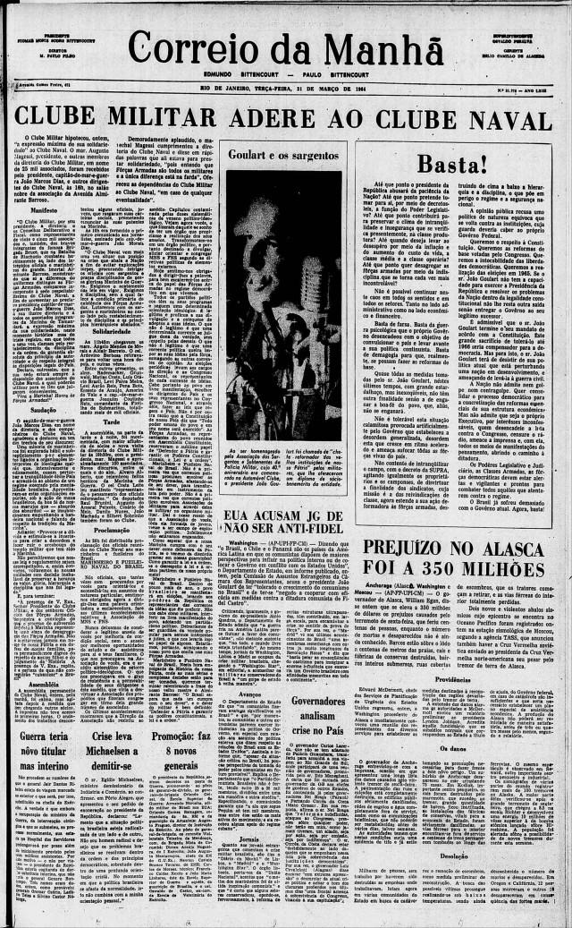 """O """"Correio da Manhã"""",de 31 de março de 1964, registra a movimentação dos militares de alta patente em resposta ao protesto dos marinheiros e fuzileiros navais"""