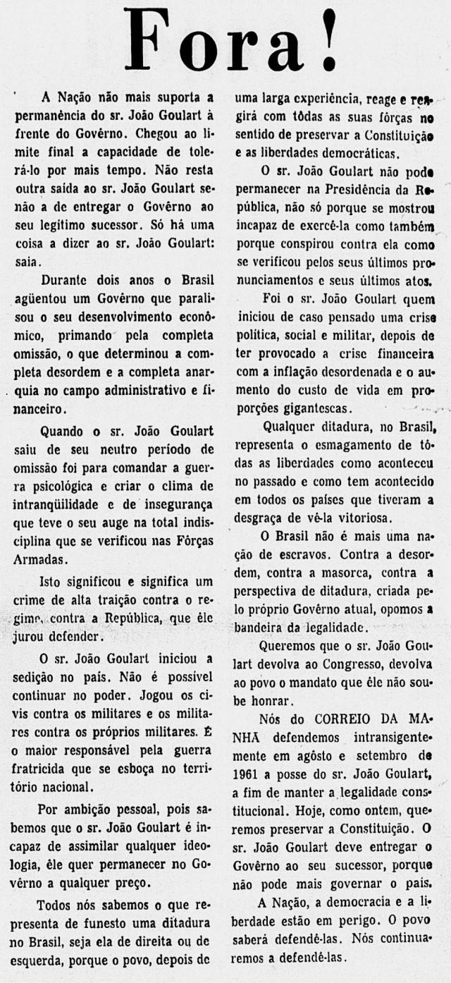 """Editorial do """"Correio da Manhã"""" de 1º de abril 1964 pede a renúncia do presidente João Goulart"""