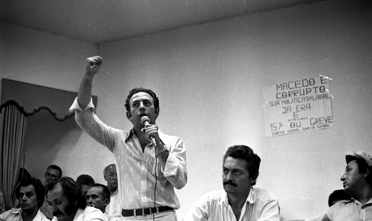 <strong> O sindicalista Benedito Marc&iacute;lio, </strong> dos metal&uacute;rgicos de Santo Andr&eacute; (SP), discursa na assembleia de 31 de mar&ccedil;o de 1980&nbsp;