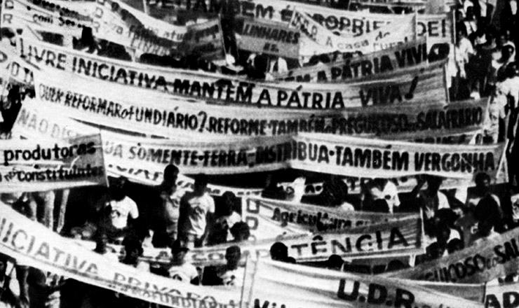 <strong> Marcha de propriet&aacute;rios de terra </strong> organizada pela UDR para protestar contra a aprova&ccedil;&atilde;o de dispositivos favor&aacute;veis &agrave; reforma agr&aacute;ria  &nbsp;