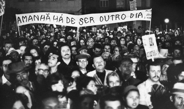<strong> Manifesta&ccedil;&atilde;o em S&atilde;o Paulo</strong> durante o processo eleitoral de 1974 em que Ulysses Guimar&atilde;es saiu &quot;anticandidato&quot; &agrave; Presid&ecirc;ncia da Rep&uacute;blica; somente uma d&eacute;cada depois, chegariam ao t&eacute;rmino os 21 anos de ditadura no pa&iacute;s