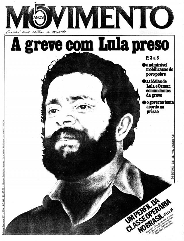"""Jornal alternativo """"Movimento"""" traz reportagem sobre Lula e os operários do ABC em greve em 1980"""