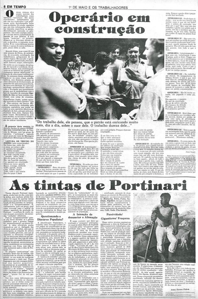"""Jornal """"Em Tempo"""", de1º de maio de 1978, destaca o confronto entre empregados e empresários e a organização do movimento sindical no país"""