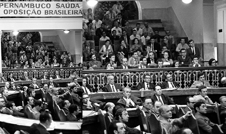 <strong> Reunião do MDB </strong> em que foi elaborada a Carta de Recife em defesa da anistia