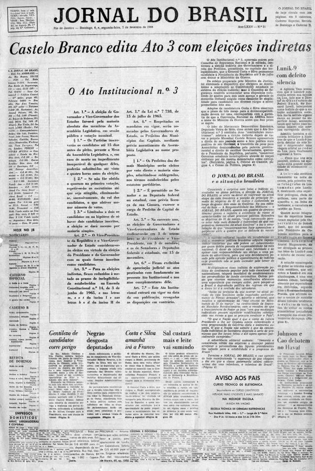 """O """"Jornal do Brasil"""" traz a íntegra do AI-3, que estabelece eleições indiretas para governadores"""