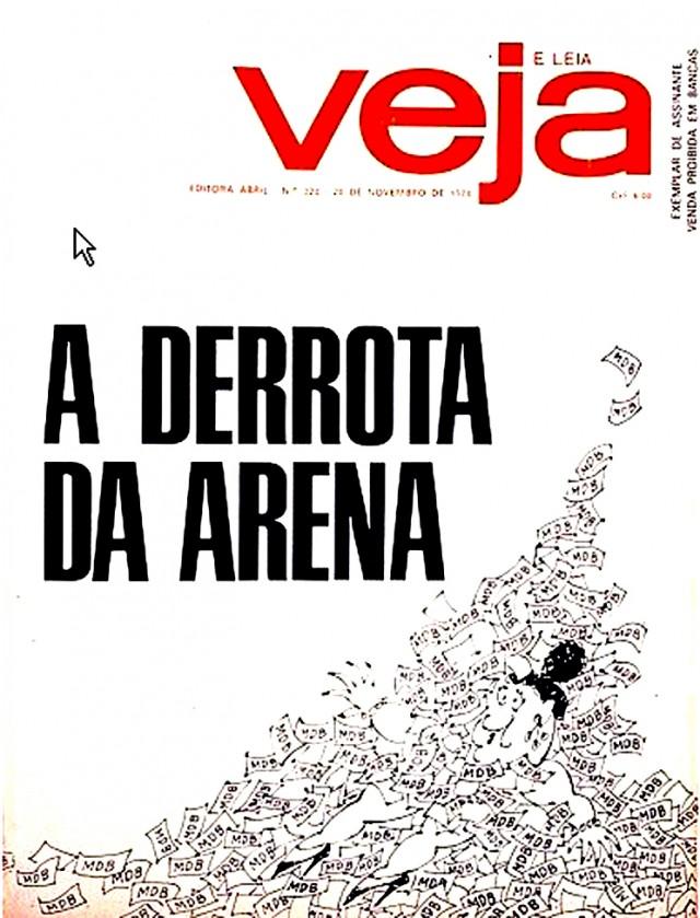 """A revista """"Veja"""" noticiou o resultado da eleição de 1974 destacando a derrota da Arena, sufocada pelos votos dados ao MDB"""