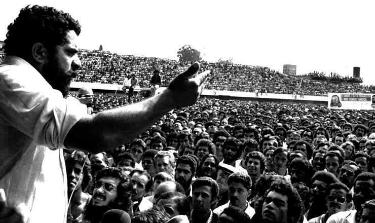 <strong> Luiz In&aacute;cio da Silva, o Lula,</strong> durante as greves do ABC no final dos anos 1970&nbsp;