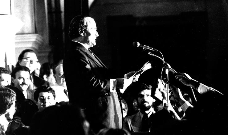 <strong> O jurista Goffredo da Silva Telles</strong> faz a leitura da &quot;Carta aos Brasileiros&quot; na Faculdade de Direito da USP, em S&atilde;o Paulo, em 8 de agosto de 1977&nbsp;