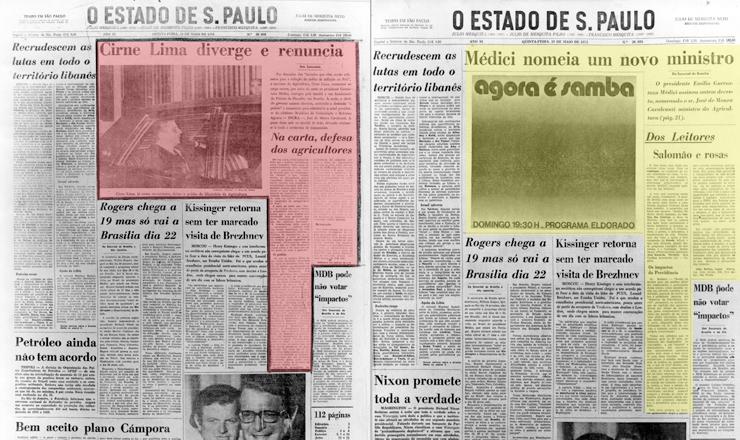 <strong> Manchete censurada </strong> sobre saída de ministro (pag. à esq.) recebe outro enfoque e dá lugar a cartas de leitores, a primeira sobre rosas azuis, e a anúncio (pág. à dir.) em O Estado de S.Paulo de 10 de maio de 1973