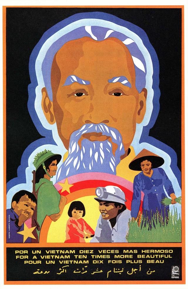 Ilustração sobre Ho Chi-Minh, símbolo da resistência no Vietnã, em cartaz da Organização de Solidariedade aos Povos da Ásia, África e América Latina (Ospaaal)