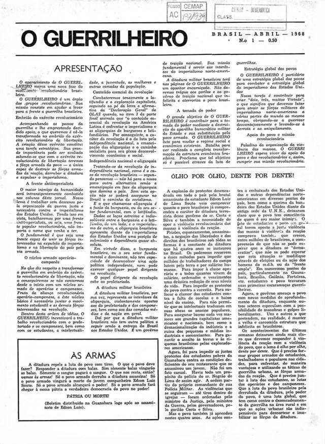 """Primeira edição de """"O Guerrilheiro"""" (abril de 1968),publicação destinada a defender a luta armada como forma de luta revolucionária"""