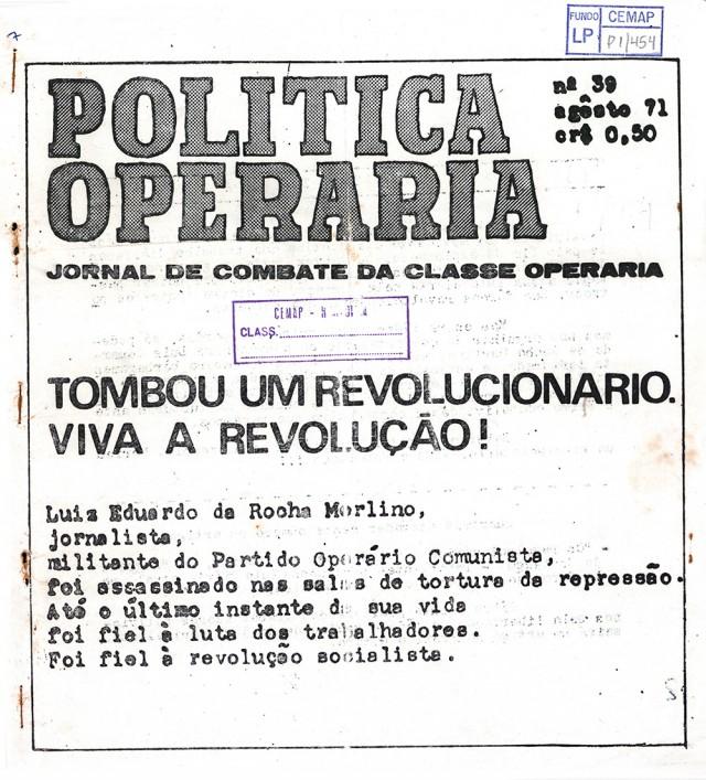"""""""Política Operária"""", publicada pela Polop"""