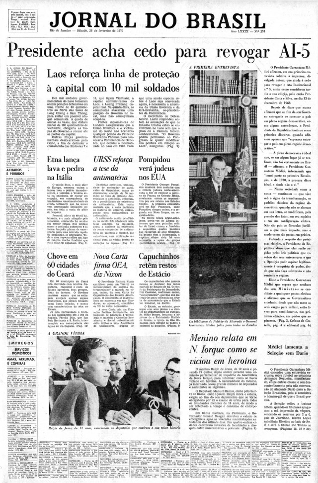 "Entrevista coletiva do presidente é manchete do ""Jornal do Brasil"" de 28 de fevereiro de 1970"