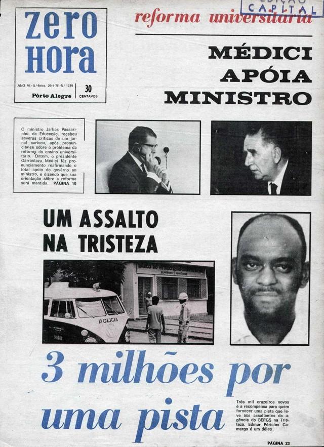 """O jornal gaúcho """"Zero Hora"""" noticia assalto a agência bancária e divulga recompensa por pistas sobre os assaltantes; Edmur Camargo, da ALN, é um deles"""
