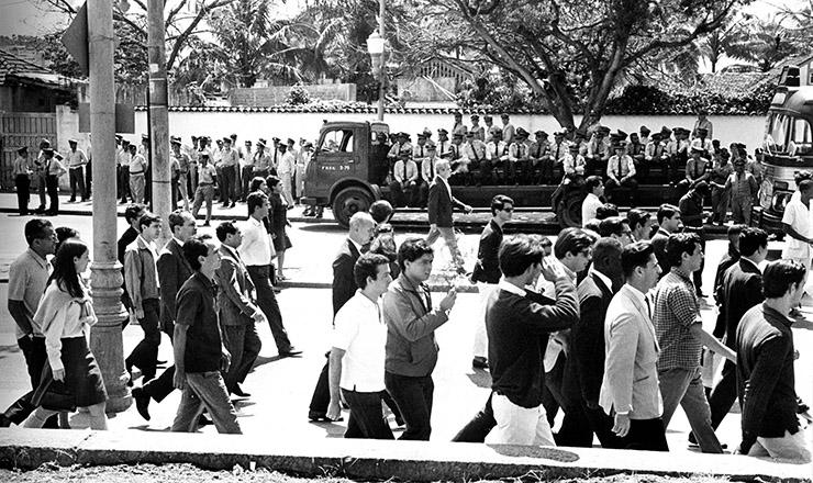 <strong> Cerco da Pol&iacute;cia Militar</strong> no dia que antecedeu &agrave; viol&ecirc;ncia no campus da Faculdade Nacional de Medicina