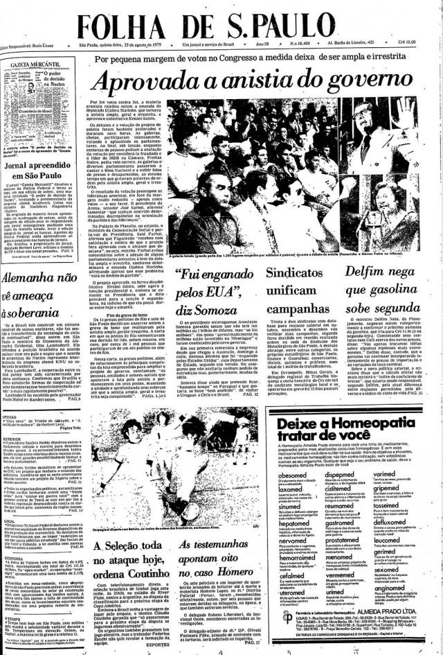 """A aprovação da Lei da Anistia é manchete da """"Folha de S.Paulo"""" de 23 de agosto de 1979"""