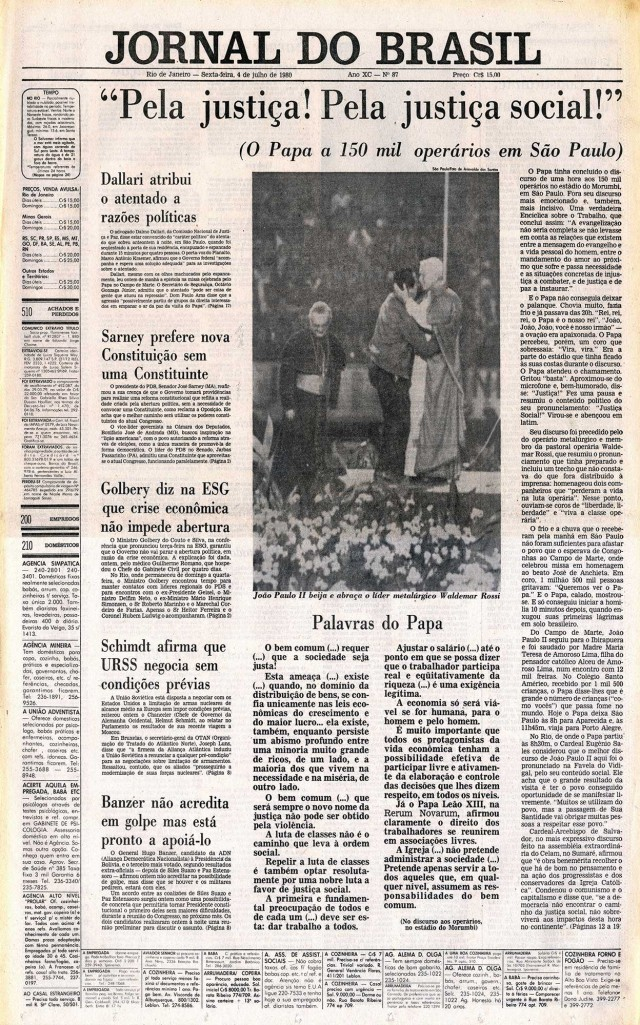 """Capa da edição de 4 de julho de 1980 do """"Jornal do Brasil"""" destaca a cerimônia com o papa no estádio do Morumbi, em São Paulo"""