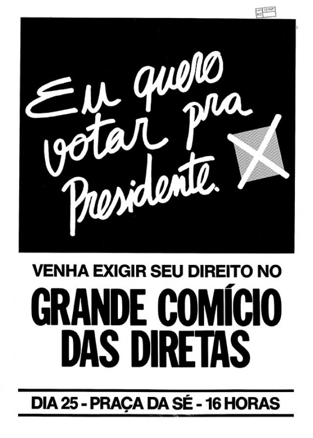 Cartaz do comício da praça da Sé, no dia 25 de janeiro