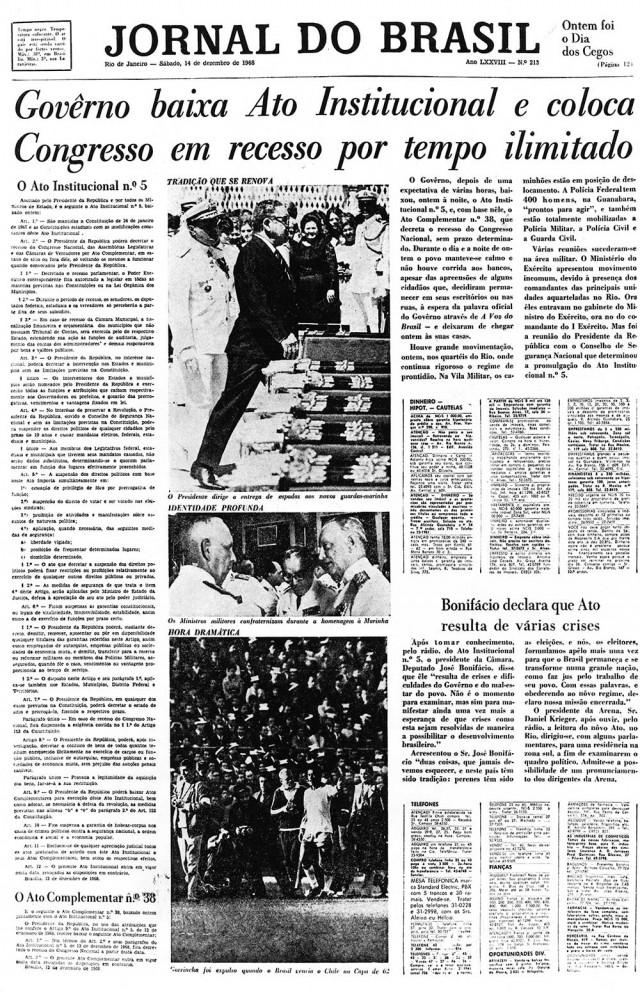 """Capa do """"Jornal do Brasil"""" registra em manchete a promulgação do AI-5, que fechou o Congresso Nacional"""