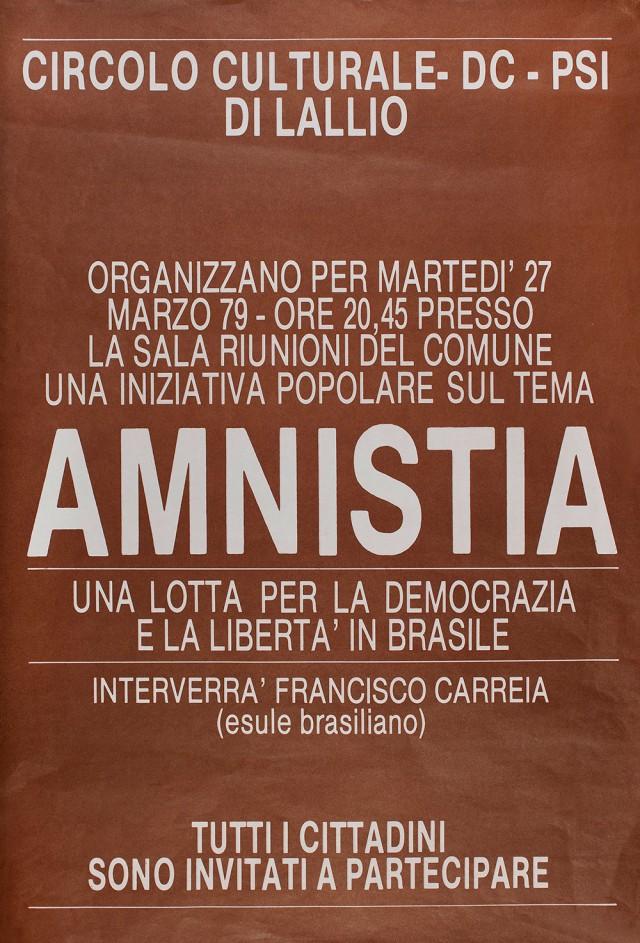Cartaz de divulgação de ato pró-anistia no Brasil realizado em Lombardia, Itália, março de 1979