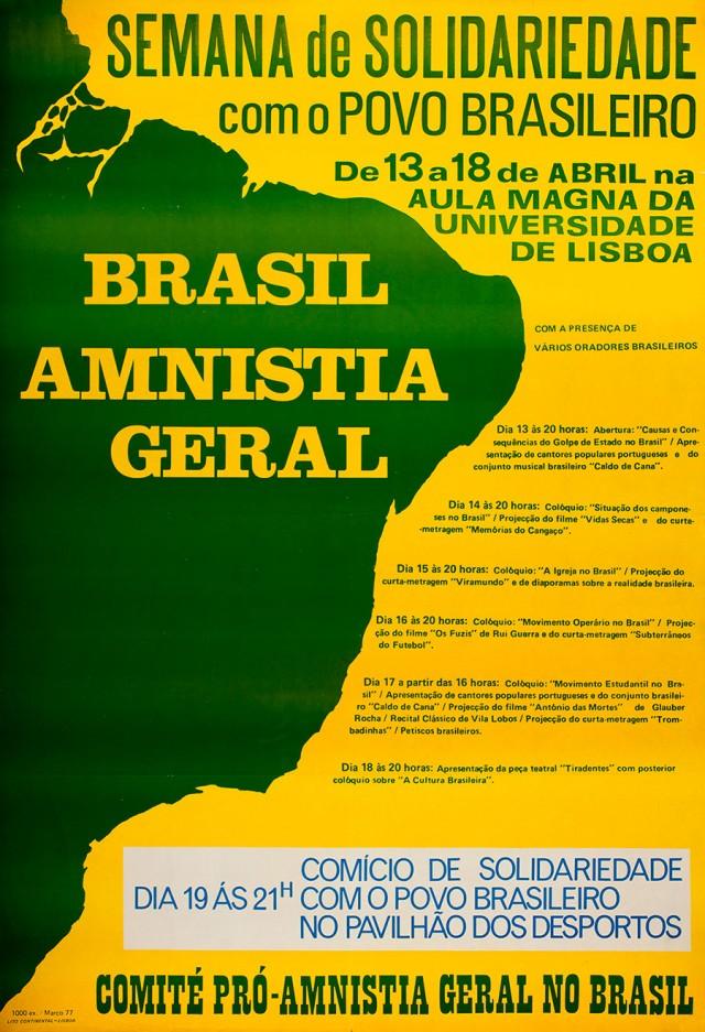 Cartaz de divulgação de ato pró-anistia organizado em Portugal, em abril de 1977