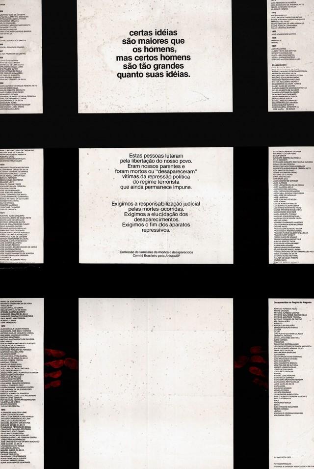 Cartaz do Comitê Brasileiro de Anistia, seção São Paulo, traz a lista dos mortos e desaparecidos durante o regime militar