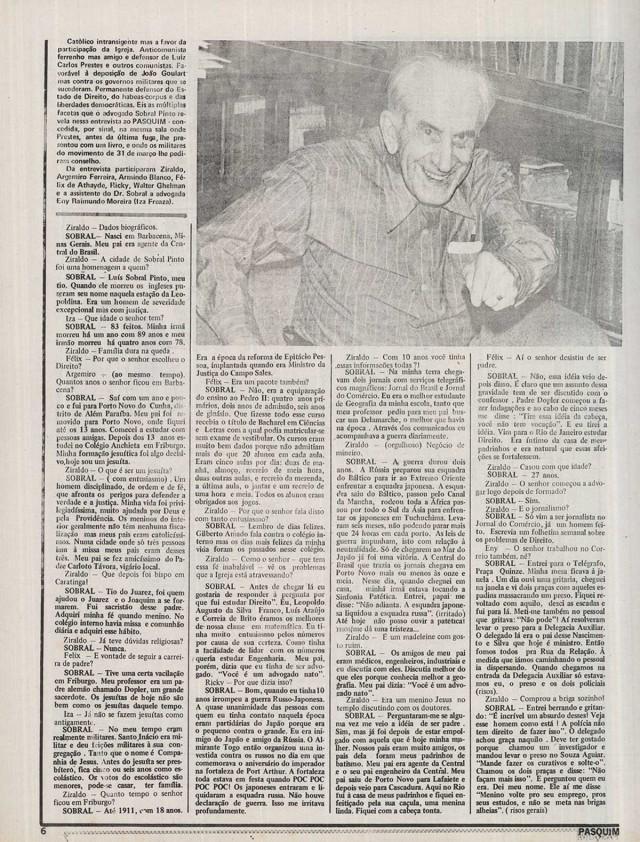 """Entrevista concedida por Sobral Pinto a """"O Pasquim"""" em 1977"""