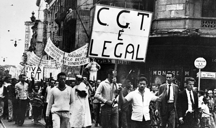 <strong> Passeata pela cria&ccedil;&atilde;o do CGT</strong> no Rio de Janeiro, em agosto de 1962&nbsp;
