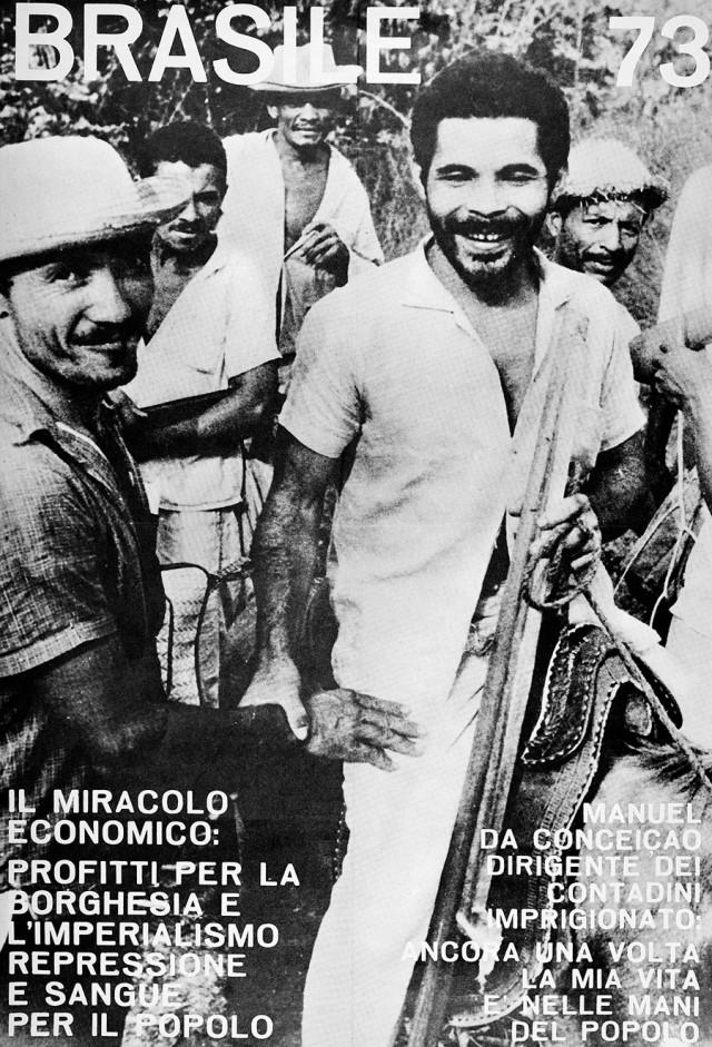 Cartaz distribuído na Itália denuncia as violências cometidas contra o líder camponês Manuel da Conceição