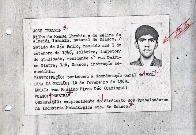 Ficha policial de José Ibrahim, dirigente metalúrgico de Osasco (SP)