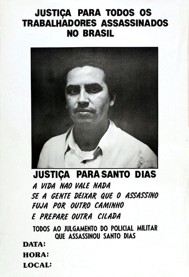 Cartaz convoca para o julgamento do policial militar que assassinou Santo Dias