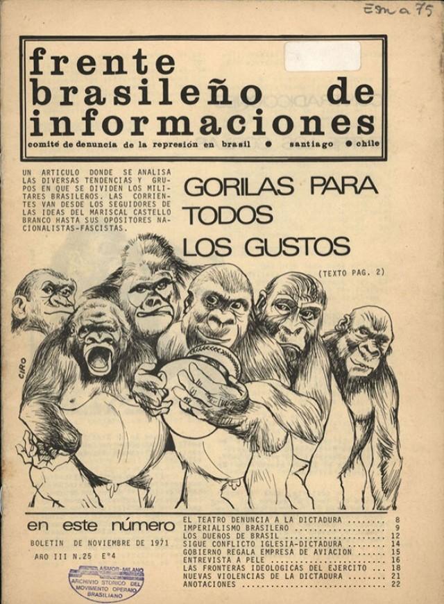 Edição chilena do boletim da Frente Brasileira de Informações faz uma analogia dos gorilas com os militares brasileiros