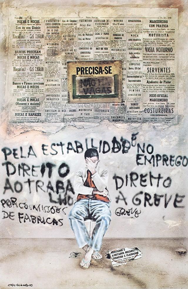 Cartaz de Elifas Andreato para o fundo de greve dos metalúrgicos