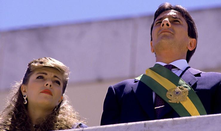<strong style='line-height:1.6em'> Fernando Collor de Mello</strong>  e sua mulher na época, Rosane, no parlatório do Palácio do Planalto na posse na Presidência da República