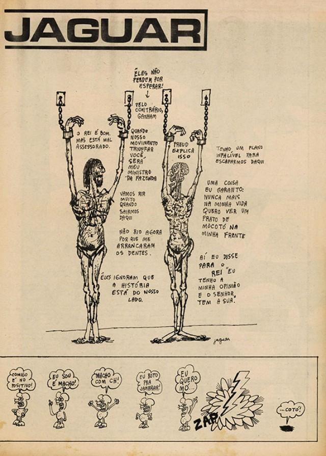 Charge de Jaguar,na edição de 14 de janeiro de 1971, sobre a prisão dos jornalistas da publicação