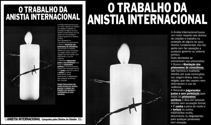 <strong> Cartaz da Anistia </strong> Internacional, se&ccedil;&atilde;o brasileira,&nbsp;divulga suas a&ccedil;&otilde;es