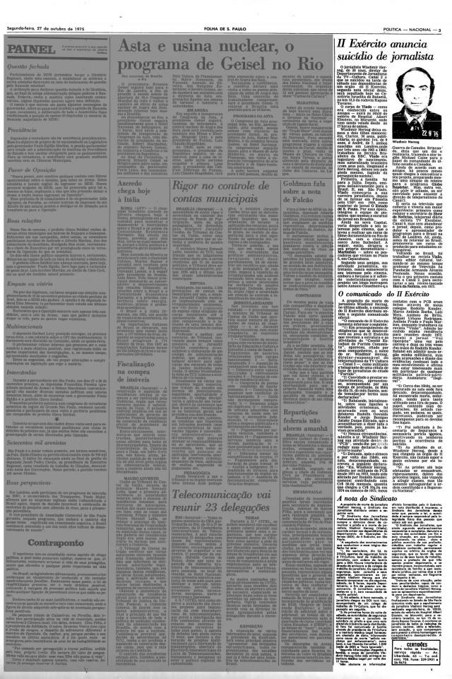 """A versão oficial de suicídio é publicada em matéria sobre Vladimir Herzog na """"Folha de S.Paulo""""; nota do sindicato dos jornalistas protesta contra a morte de Vlado e a prisão de outros profissionais de imprensa"""
