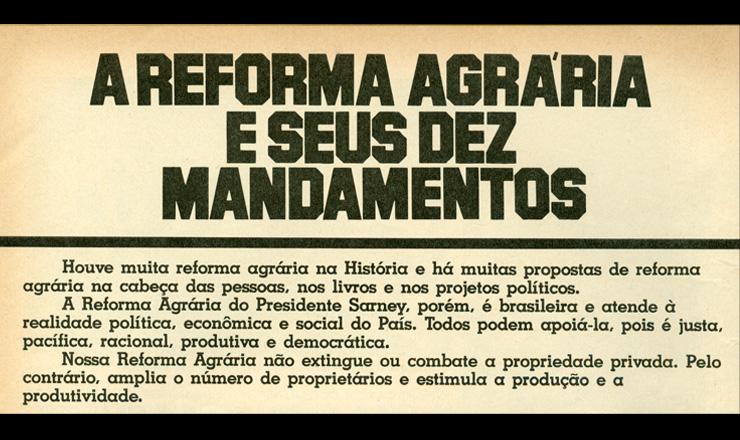 <strong> Resumo do PNRA, </strong> com os principais pontos do plano de reforma agr&aacute;ria do governo Sarney