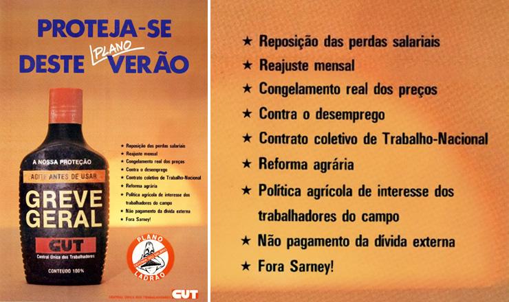 <strong> Cartaz de convoca&ccedil;&atilde;o</strong> da CUT para a greve geral que traz as reivindica&ccedil;&otilde;es dos trabalhadores.
