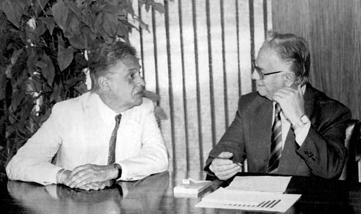<strong> Fernando Henrique Cardoso,</strong> ministro da Fazenda, e o presidente Itamar Franco, em Bras&iacute;lia