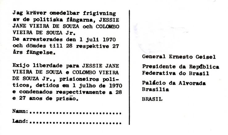 <strong> Verso do postal </strong> traz mensagem em sueco e portugu&ecirc;s dirigida ao presidente Geisel, que sucedeu ao general M&eacute;dici&nbsp;