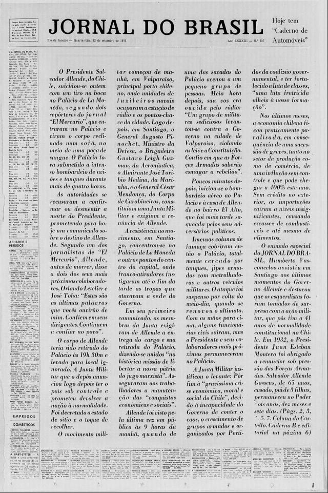"""Proibido pela censura de dar manchete com destaque para o golpe militar no Chile, o """"Jornal do Brasil"""" editou a capa do dia 12 de setembro de 1973 sem títulos nem fotografias"""