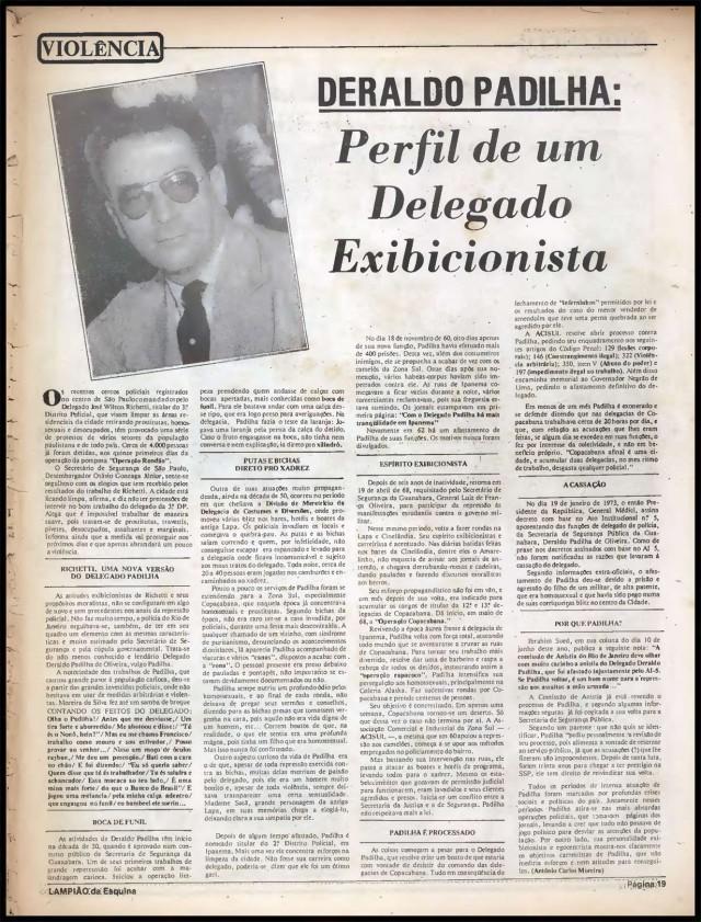 """Em julho de 1980, o jornal """"Lampião da Esquina"""" denuncia a violência policial contra homossexuais em São Paulo e no Rio de Janeiro"""