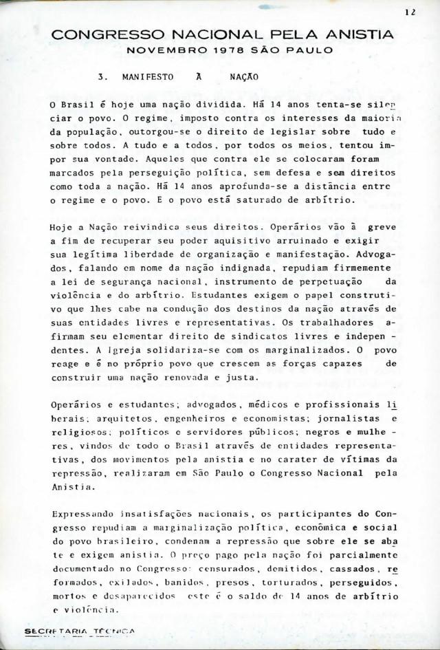 Congresso Nacional pela Anistia, São Paulo, 1978