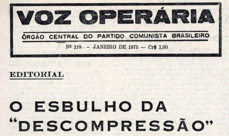 """<strong> Edição da """"Voz Operária"""", </strong> nº 119, que estava sendo impressa quando a gráfica foi descoberta pela repressão"""